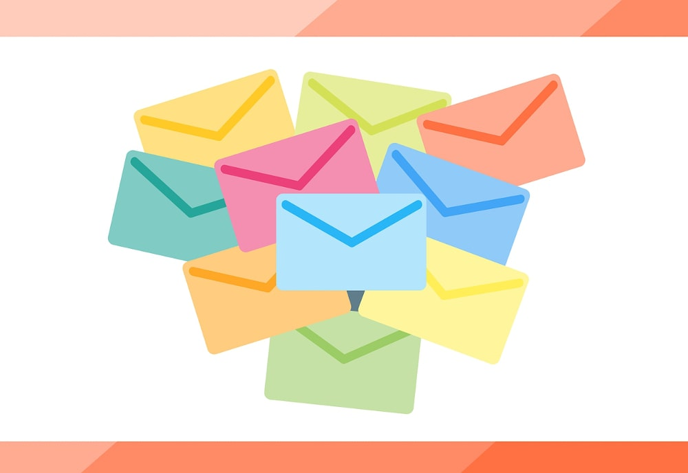 Colourful envelopes on a white background.