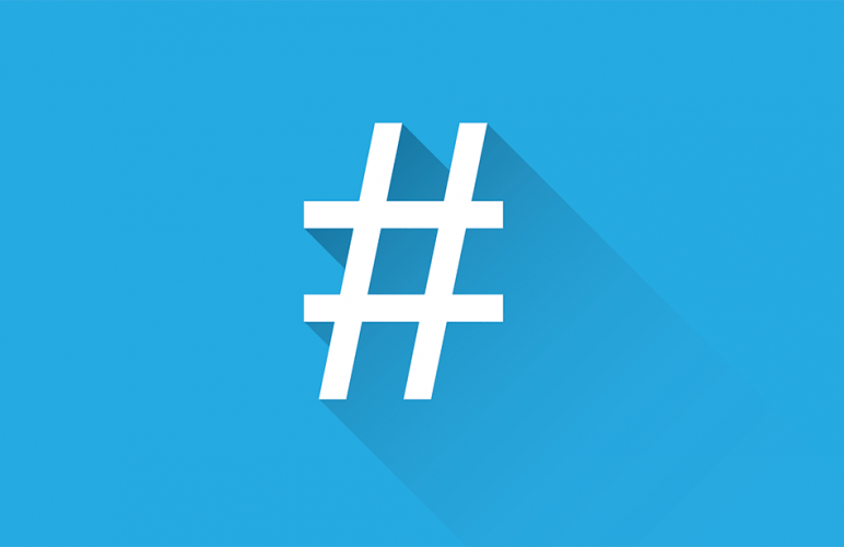 A hashtag on a blue background.
