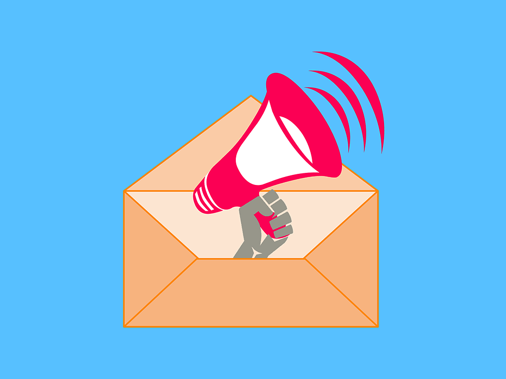 A red megaphone coming out of an envelope.