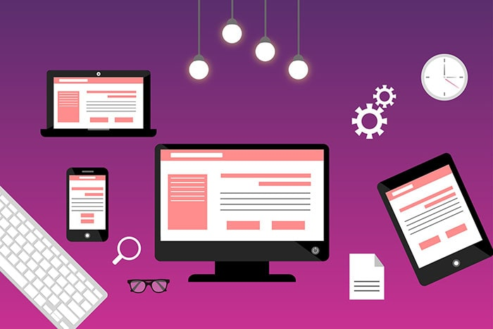 Electronic devices displaying website ideas for small businesses.